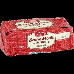 Beurre moulé de Pays demi-sel, 80% de MG, GRAND FERMAGE, 500g