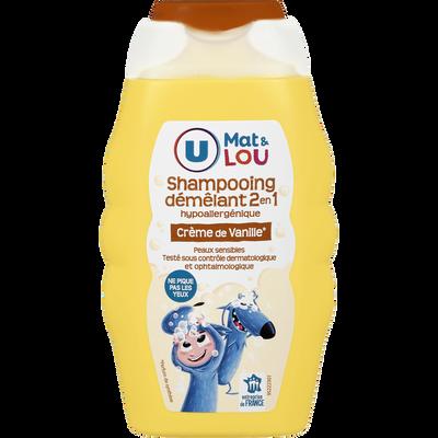 Shampoing démêlant parfum crème vanille U MAT ET LOU, flacon de 250ml