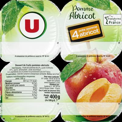 Coupelle dessert de fruits pomme et abricot U, 4 pots de 100g, 400g