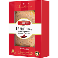 Canard Foie Gras De  Entier Mi-cuit Au Piment D'espelette, Du Sud-ouestigp Lartigues Et Fils, 150g