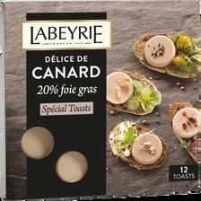 Spécialité à base de foie de canard spécial toasts LABEYRIE, 75g