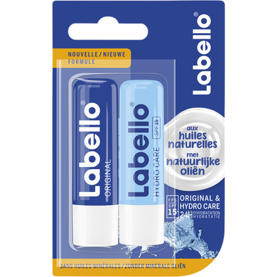 Stick pour les lèvres original hydro care LABELLO, 2x4,8g sous blister