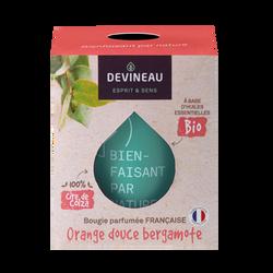 Bougie bio parfumée à base d'huiles essentielles Orangedouce et Bergamote
