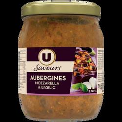 Aubergines mozzarella et basilic U SAVEURS, bocal de 520g