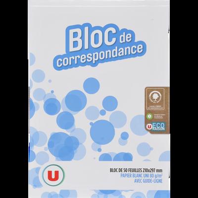 Bloc correspondance Eco Raison U, 21x29,7cm, 50 feuilles
