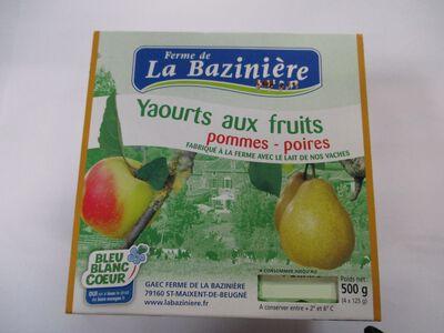 yaourts fermiers aux fruits, BLEU BLANC COEUR, au lait entier de vache, pommes et poires, La Bazinière, pot 4x125g