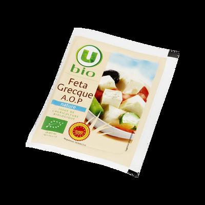 Féta grecque AOP au lait pasteurisé de brebis et chèvre issue de l'agriculture biologue, U BIO, 24,4% de MG, 150g