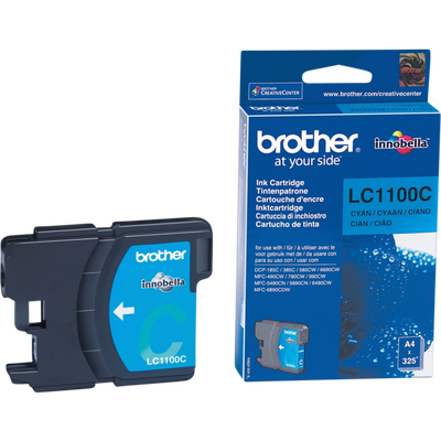 Cartouche d'encre BROTHER pour imprimante, LC1100 cyan, sous blister