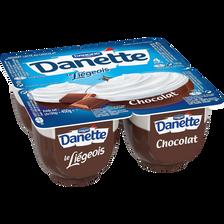 DANETTE Le Liégeois chocolat, 4x100g