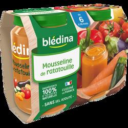 Petits pots pour bébé salé légumes mousseline ratatouille BLEDINA, dès6 mois, 2x200g