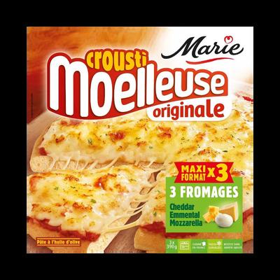 Pizza Crousti moelleuse au fromage MARIE, x3 soit 1,170kg