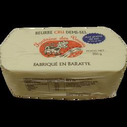 Beurre moulé cru grains de sel 80% de mg, fontaine des veuves, 250g