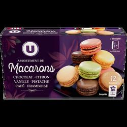 Assortiment de macarons congelés 6 parfums U, x12 soit 154g