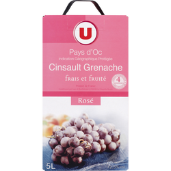 Vin rosé IGP Pays d'Oc grenache cinsault U, 5l