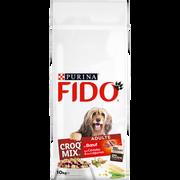 Fido Croquettes Croq'mix Au Boeuf, Céréales Et Légumes Pour Chien Adulte Fido, Sac De 10kg