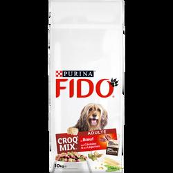 Croquettes Croq'Mix au boeuf, céréales et légumes pour chien adulte FIDO, sac de 10kg