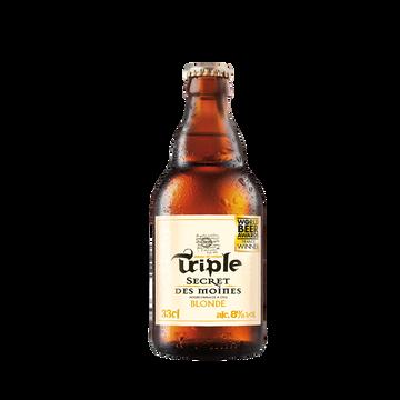 Les Brasseurs de Gayant Bière Blonde Secret Des Moines Triple 8° , Bouteille De 33cl