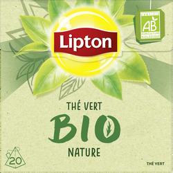 Thé vert bio nature LIPTON, 20 sachets pyramide, 28g