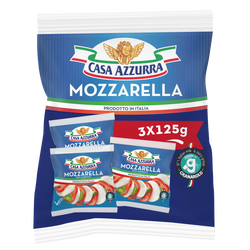 Mozzarella au lait pasteurisé de vache CASA AZZURRA, 18%mg, 3x125g
