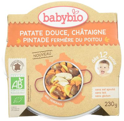 BABYBIO ASSIETTE PATATE DOUCE CHATAIGNE PINTADE FERMIERE
