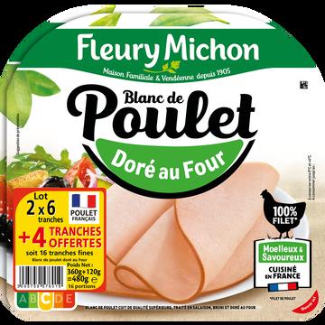 Fleury Michon Blanc De Poulet Doré Au Four Fleury Michon, 2x6 Tranches + 2 Offertes,480g