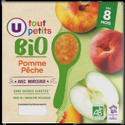 Pots pour bébé dessert pomme et pêche avec morceaux Tout Petits Bio U,dès 8 mois, 4x100g