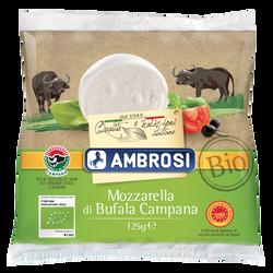 Mozzarella di bufala DOP BIO lait pasteurisé, 20,5% de MG, AMBROSI, 125g