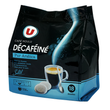 Café arabica décaféiné U, paquets de 18 dosettes, 125g