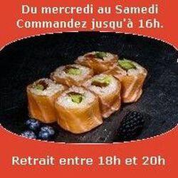 Saumon rolls 6 pièces,Avocat tomate séchée cheese , SUSHI MONT BLANC
