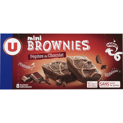 Mini brownies pépites chocolat U, x8, 240g