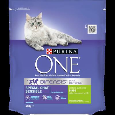 Purina ONE croquettes pour chat adulte sensible à la dinde et au riz,paquet de 450g