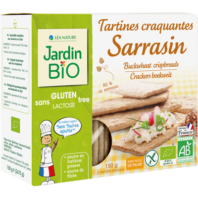 Tartines craquantes sarrasin sans gluten JARDIN BIO, 150g