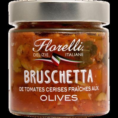 Préparation culinaire a base de tomates cerises fraîches et d'Olives FLORELLI, 190g