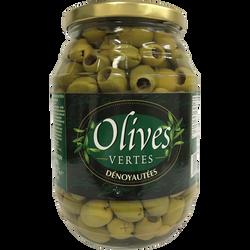 Olives vertes dénoyautées, bocal de 475g