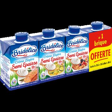 Bridelice Crème Uht Semi-épaisse Légère Bridelice, 18% De Mg, 3 Briques De 20cl+ 1 Offerte