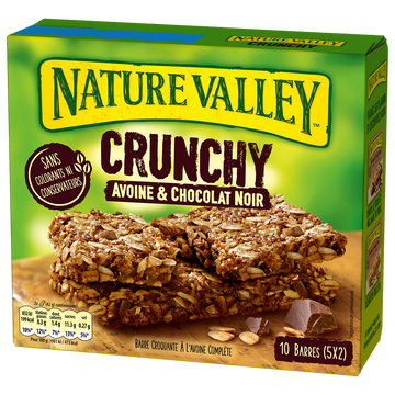 Valley Barre Croquante À L'avoine Complète Et Aux Pépites De Chocolat Noir Nature Valley, 5 Barres Double De 42g Soit 210g