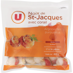 Noix de St Jacques avec corail U, 20/40 pièces soit 400g