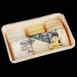 Plateau raclette 3 saveurs chèvre vin arbois moutarde, lait pasteurisé, 26%Mat.Gr, barquette en bois 360g, Jean Perrin