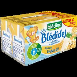 Lait et céréales saveur vanille Bledidej BLEDINA, dès 6 mois, 4x250ml