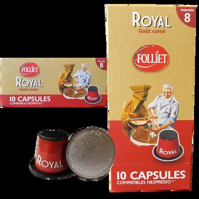 Capsules café royal corsé 8 compat. nespresso FOLLIET, x10