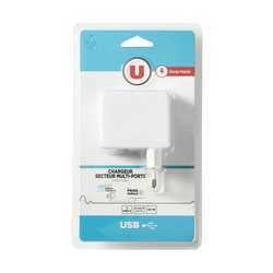 Chargeur secteur 3 ports usb 2,4 ampères+1 usb-c U blanc