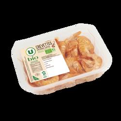 Crevettes cuites, penaeus vannamei, U BIO, calibre 40/60, Amérique duSud, barquette, 200g