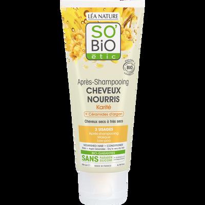 Après shampooing cheveux doux au lait d'amande et protéines de riz Bio LEA NATURE, tube de 200ml