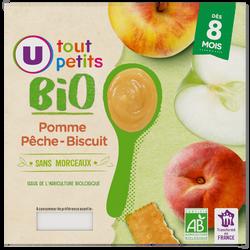 Pots dessert pomme pêche biscuit Tout Petits Bio U, dès 8mois, 4x100g