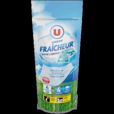 Lessive doses liquide fraîcheur U, 4x24 grammes