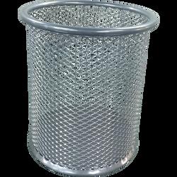Pot à crayons, U, rond, en métal MESH, 9x9x10cm, gris
