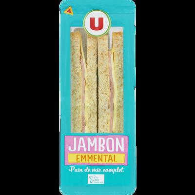 Sandwich au pain complet, jambon et emmental U, 145g