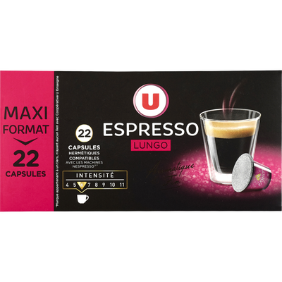 Café lungo U, 22 capsules, 114g