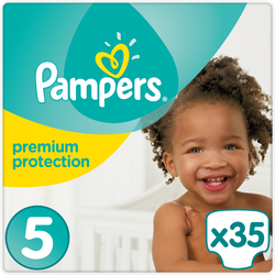 Couches prémium protection PAMPERS, 11-16kg junior taille 5x35