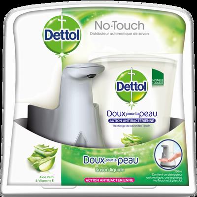 Savon liquide no touch kit effet inox, DETTOL, distributeur, 250ml + rech arge aloe vera